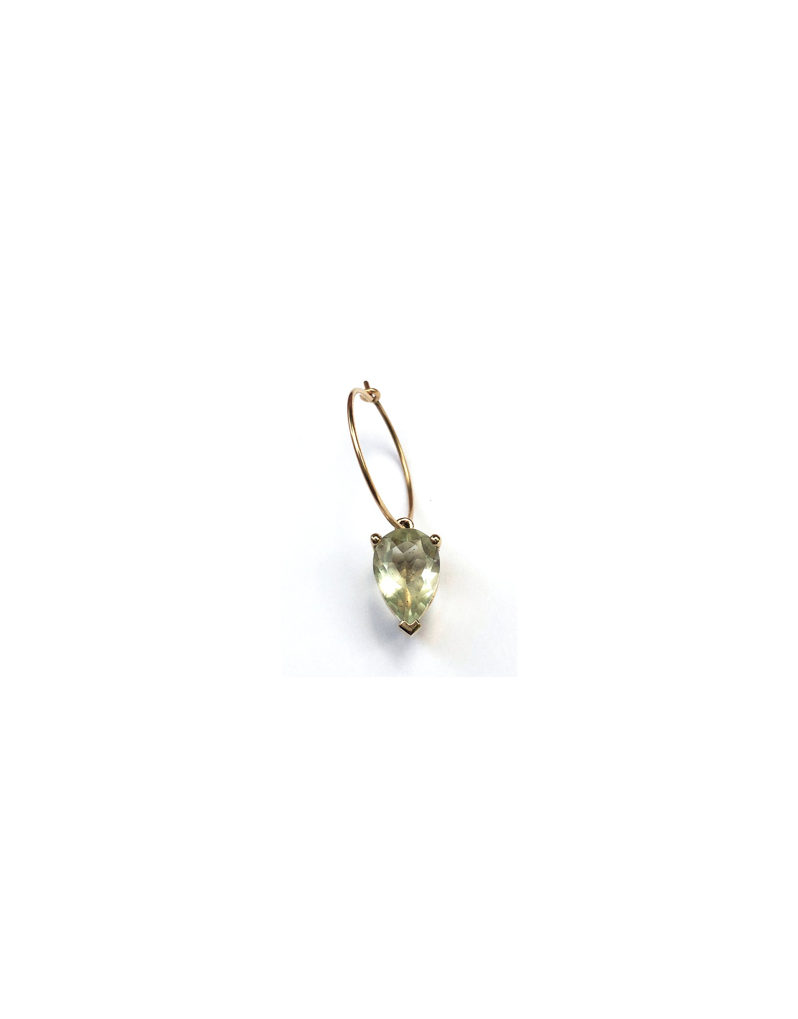 Earring 9K gold green amethyst - round bloom earring amethyst - Nayestones