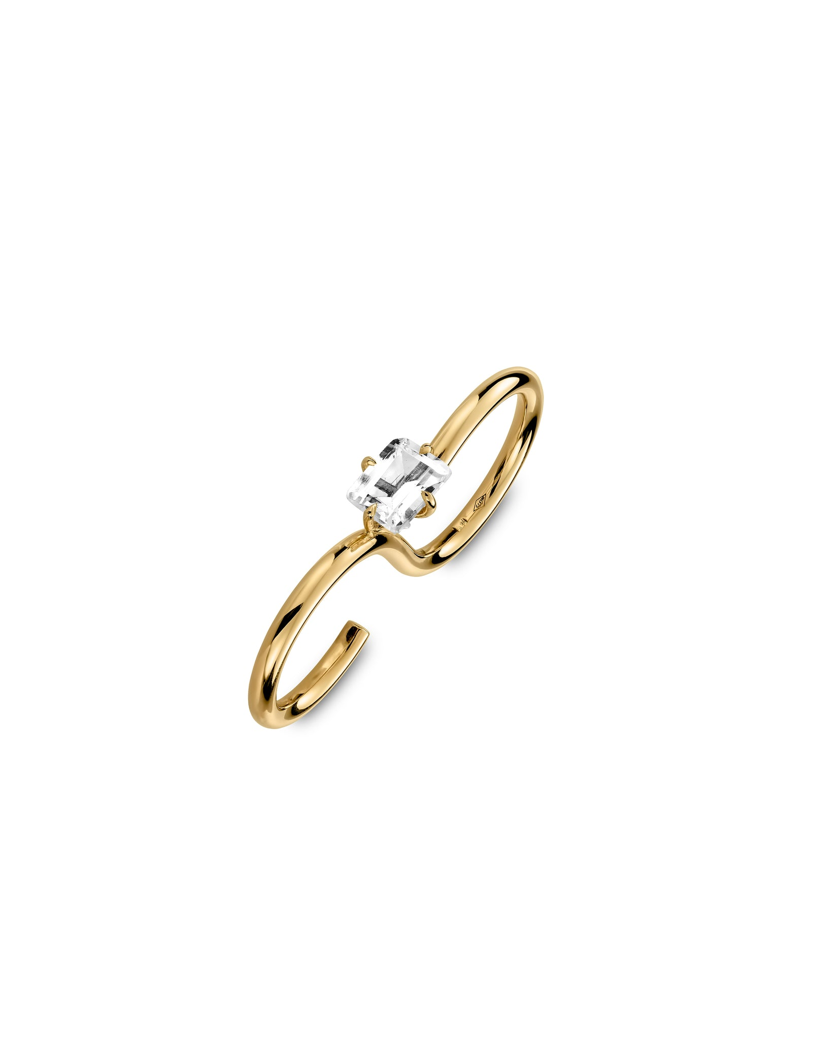 Double ring 9K gold Topaz - Signature double ring topaz - Nayestones