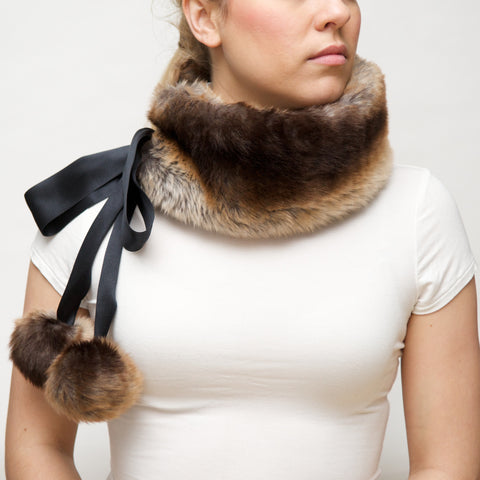 Faux Fur Scarf with Silk Ties