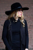 Floppy Brim Black Fedora with Faux Leather Trim
