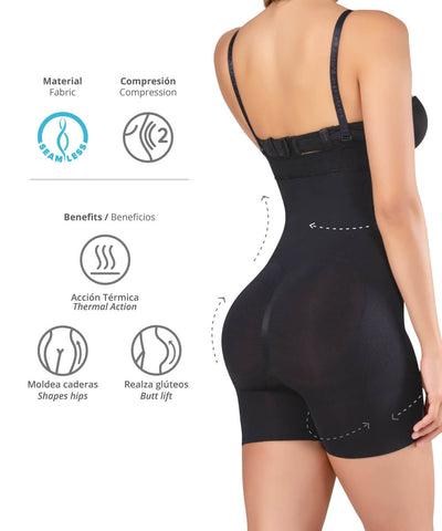 1588 - Seamless Strapless Thermal Full Body Shaper