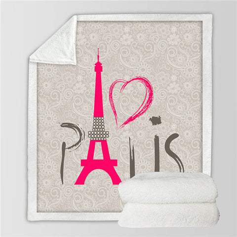 I Heart Paris Fleece Blanket