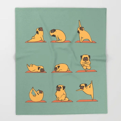 Yoga Pug Fleece Blanket