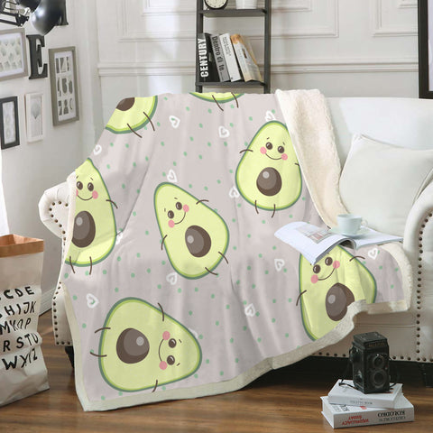 Happy Avocado Fleece Blanket
