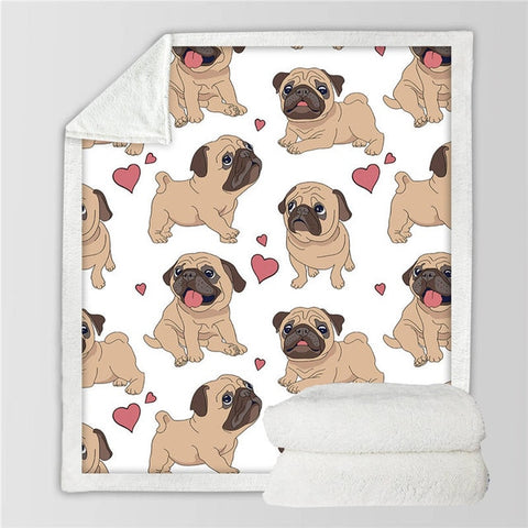 Love Pug Fleece Blanket