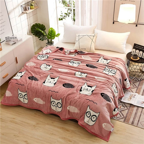 Papa&Mama Cat Fleece Blanket