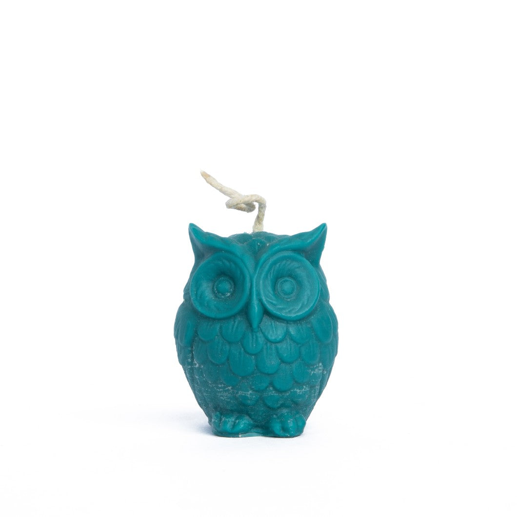 Beeswax Owl Candle - Teal Colour