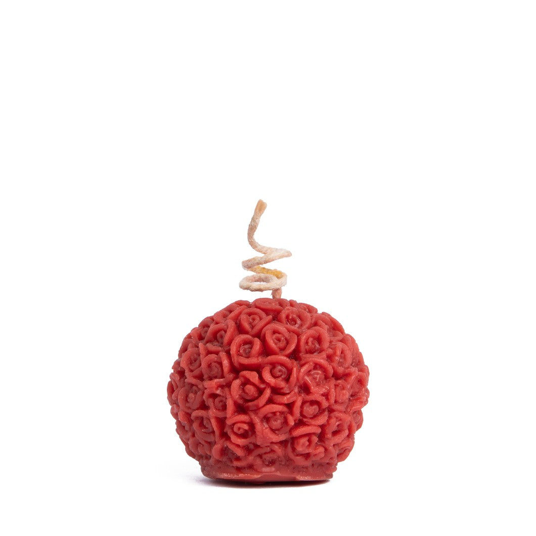 Beeswax Floral Round Candle - Red