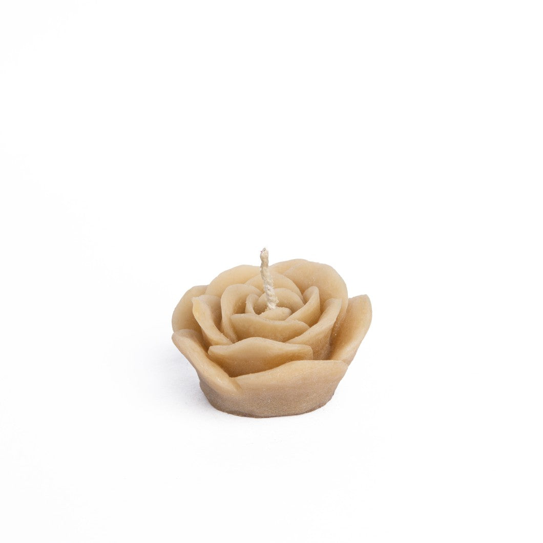 Beeswax Rose Floating Candle - Caramel