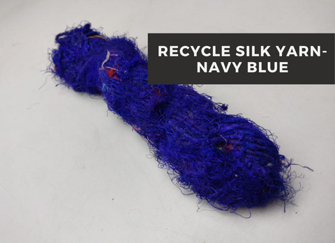 Recycled Sari Silk Yarn-Navy Blue, Recycle Sari Silk, Recycled Sari Silk, Sari Silk, Silk Yarn, Recycled Silk Yarn | Silk Route India