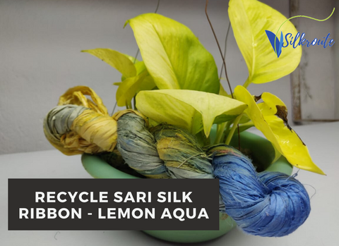 Recycle Sari Silk Ribbon - Lemon Aqua