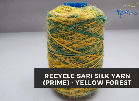 Recycled Sari Silk Yarn (Prime*) - Yellow Forest - silkrouteindia