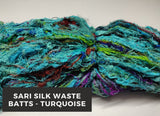 Sari Silk Waste Batts - Turquoise