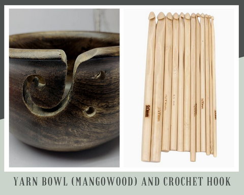 Yarn Bowl (Mangowood) and Crochet Hook