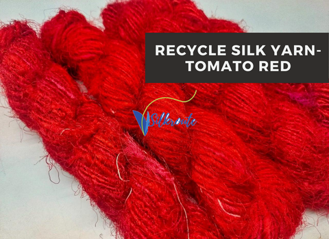 Recycled Sari Silk Yarn-Tomato Red