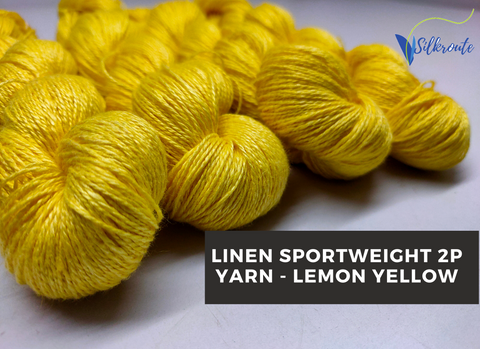 Linen Sportweight 2 PLY Yarn - Lemon Yellow - silkrouteindia