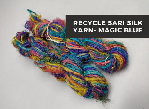 Recycled Sari Silk Yarn-Magic Blue, Recycle Sari Silk, Recycled Sari Silk, Sari Silk, Silk Yarn, Recycled Silk Yarn | Silk Route India