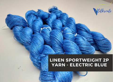 Linen Sportweight 2PLY Yarn - Electric Blue