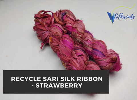 Recycle Sari Silk Ribbon - Strawberry