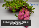 Recycle Sari Silk Ribbon - Strawberry - silkrouteindia