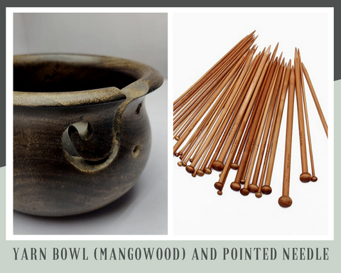 Yarn Bowl (Mangowood) and Pointed Needle - silkrouteindia