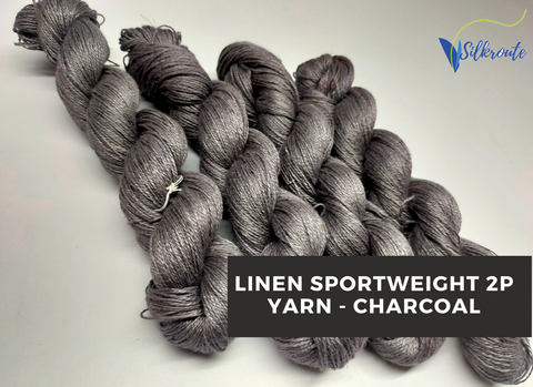 Linen Sportweight 2 PLY Yarn - Charcoal