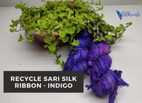 Recycle Sari Silk Ribbon - Indigo