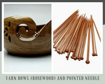 Yarn Bowl (Rosewood) and Pointed Needle - silkrouteindia