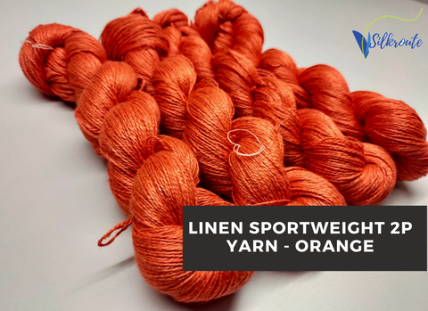 Linen Sportweight 2 PLY Yarn - Orange - silkrouteindia