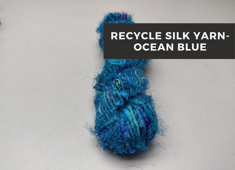 Recycled Sari Silk Yarn-ocean Blue, Recycle Sari Silk, Recycled Sari Silk, Sari Silk, Silk Yarn, Recycled Silk Yarn | Silk Route India