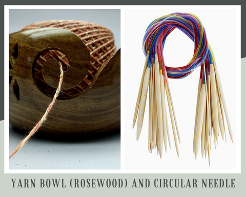 Yarn Bowl (Rosewood) and Circular Needle - silkrouteindia