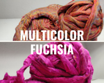 Recycle Silk Fibers Sliver - [Multicolor & Fuchsia] - silkrouteindia