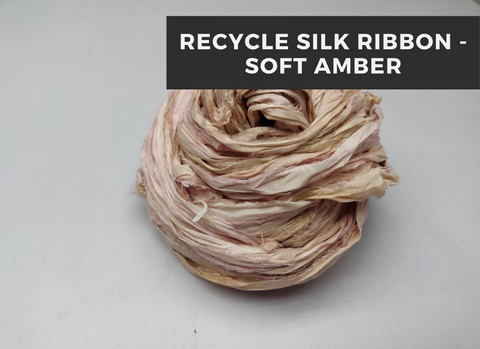 Recycle Sari Silk Ribbon - Soft Amber - silkrouteindia