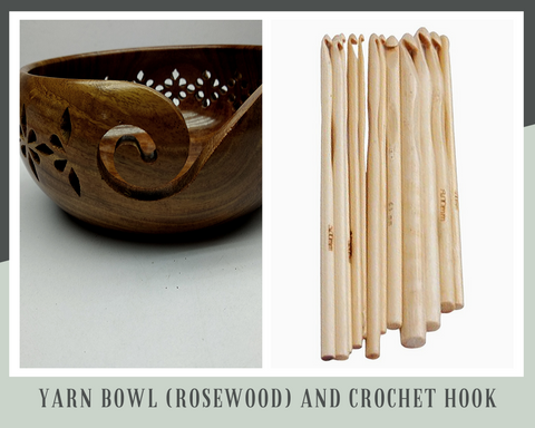 Yarn Bowl (Rosewood) and Crochet Hook - silkrouteindia