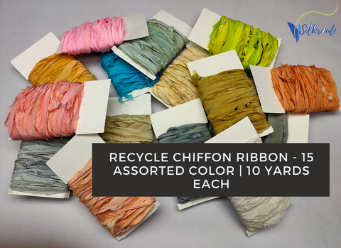 10Yd Recycle Chiffon Ribbon (15 Assorted Colors) - silkrouteindia