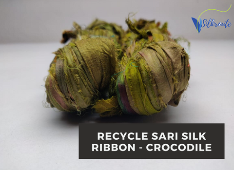 Recycle Sari Silk Ribbon-crocodile