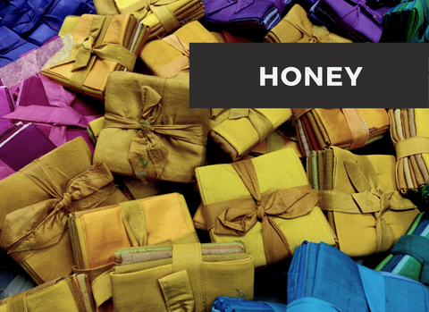 "Quilt Fabric-Honey-[18""x22""] - silk_routeindia"