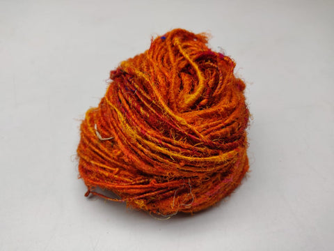 Recycled Sari Silk Yarn- Orange, recycle Sari Silk, Recycle Silk, Sari Silk Yarn, Recycle Sari | Silk Route India