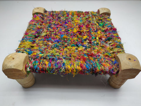 Sari Silk Footstool - silk_routeindia