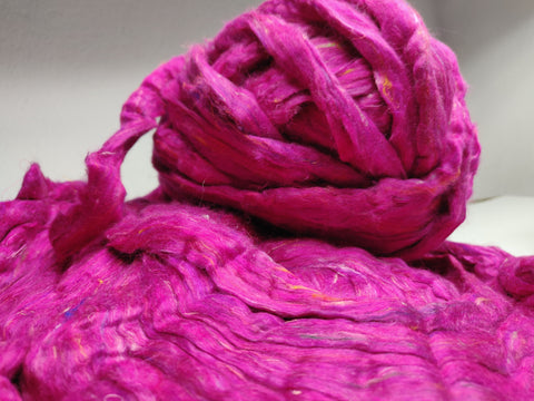 Recycle Silk Fibers Sliver - FUCHSIA, Recycle Silk Sliver, Felting Fibre, Sari Silk Tops, Silk for spinning, Art Batt, Silk Art batt, Recycled silk Batt,	felting supplies, recycle silk, recycle silk fibre, Silk Fibre, sari silk fibre, silk spinning fibre
