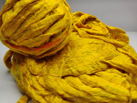 Recycle Silk Fibers Sliver - MUSTARD - silk_routeindia
