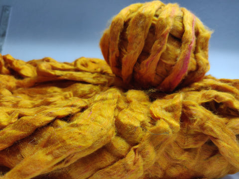 Recycle Silk Fibers Sliver - ORANGE - silk_routeindia