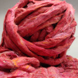 Recycle Silk Fibers Sliver-RED - silk_routeindia
