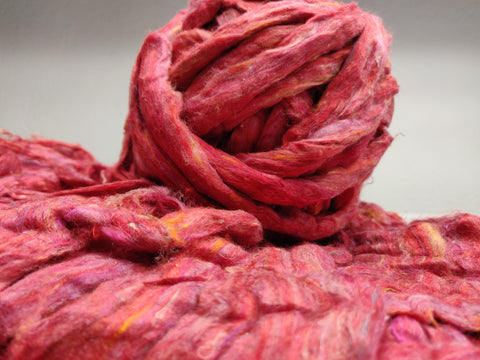 Recycle Silk Fibers Sliver-RED - silkrouteindia
