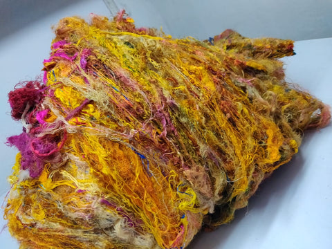 Sari Silk Waste Batts - Yellow