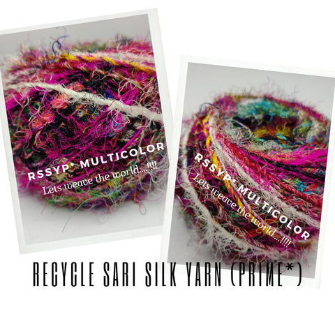 Recycled Sari Silk Yarn (Prime*)-BALLS-MULTICOLOR - silk_routeindia