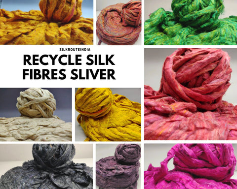 Recycle Silk Fibers Sliver - [100Gr. x8] - silkrouteindia