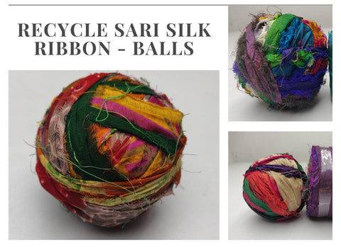 Recycled Sari Silk Ribbon - Balls - silk_routeindia