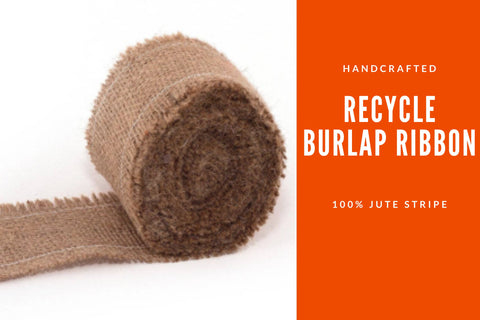 "Recycle Burlap Ribbon - [1"" Wide in Rolls] - silk_routeindia"