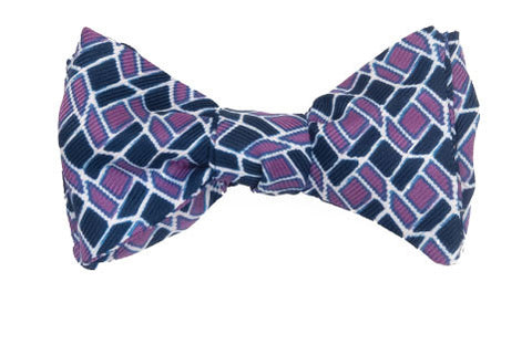 Aurora - Silk mosaic bow tie in violet and purple